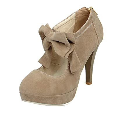 4573935096e Fashion Vintage Womens Small Bowtie Platform Pumps Ladies Sexy High Heeled  Shoes apricot-36