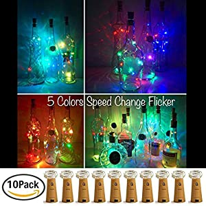 Wine Bottle Lights with Cork,LoveNite 10 Pack Battery Operated 10 LED Cork Shape Silver Copper Wire Colorful Fairy Mini String Lights for DIY,Party,Decor,Christmas,Halloween,Wedding(5 Colors Flicker)