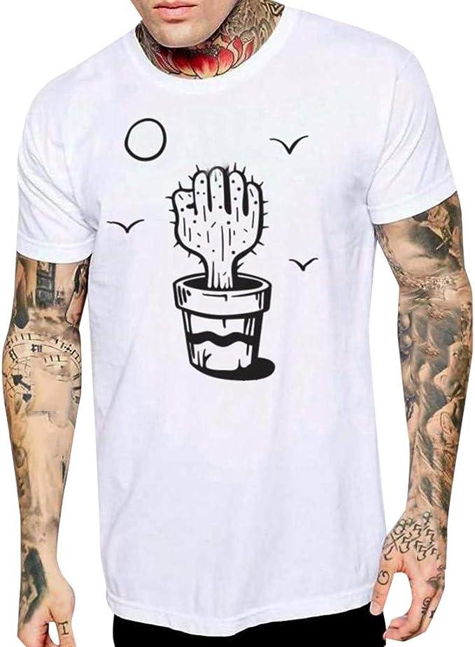 YEBIRAL Camisetas Hombre Manga Corta, Cute Cactus Impreso O-Cuello Casual Moda Camiseta para Hombre Verano Originales Fiesta Tops T-Shirt Blusas(L, Blanco): Amazon.es: Ropa y accesorios