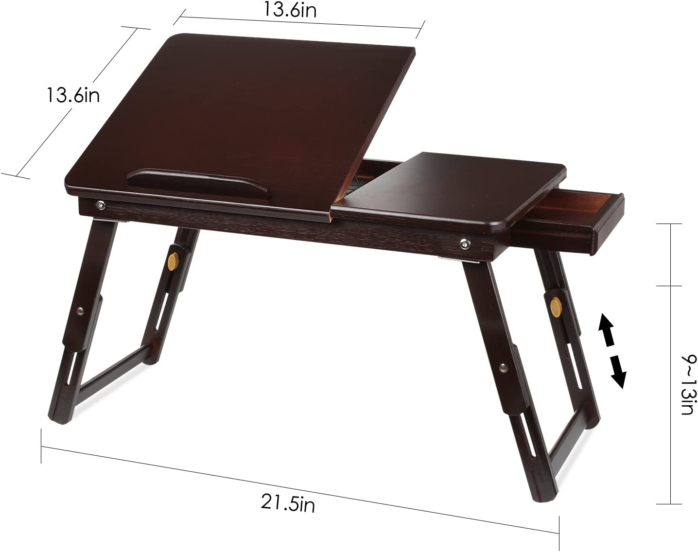 Home Bamboo Adjustable 3 Height Lift Bed Table with Tray Student Reading Desk Desk with Sloping top daily supplies Foldable Cooling Laptop Desk