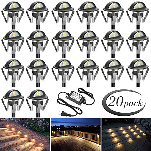 (FVTLED Pack of 20 Warm White Low Voltage LED Deck lights kit Φ1.38