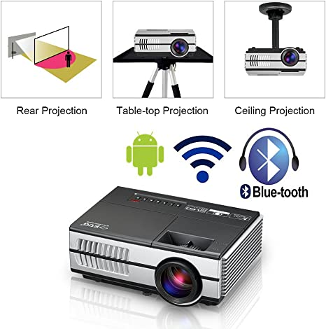 LED Mini Wireless Bluetooth HDMI Projector Portable Home Theater Smart Android WiFi Proyector Multimedia Outdoor Movie Party Entertainment Projectors ...