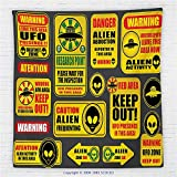 59 x 59 Inches Outer Space Decor Fleece Throw Blanket Warning Ufo Signs with Alien Faces Heads Galactic Paranormal Activity Design Blanket Yellow