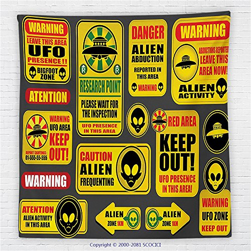 59 x 59 Inches Outer Space Decor Fleece Throw Blanket Warning Ufo Signs with Alien Faces Heads Galactic Paranormal Activity Design Blanket Yellow by iPrint