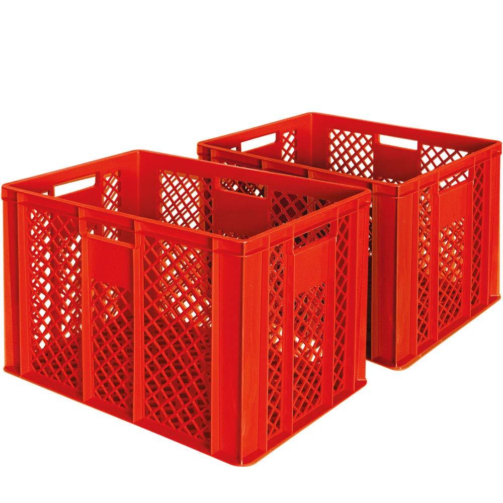 2x Euro-Stapelbehä lter, LxBxH 600 x 400 x 410 mm, lebensmittelecht, Boden und Wä nde durchbrochen, rot BRB