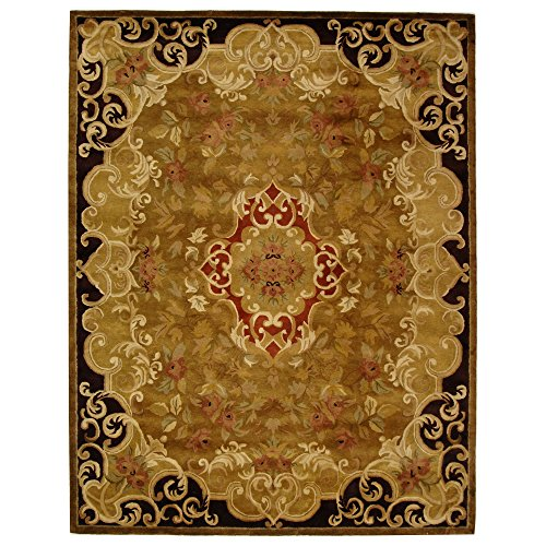 Safavieh Classic Collection CL234B Handmade Traditional Oriental Gold and Cola Wool Area Rug (7'6 x 9'6) Cola Rug Rug