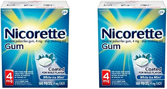 Nicorette 4mg Nicotine Gum to Quit Smoking - Mint Flavored Stop Smoking Aid, White Ice, 160 Count (Pack of 2)