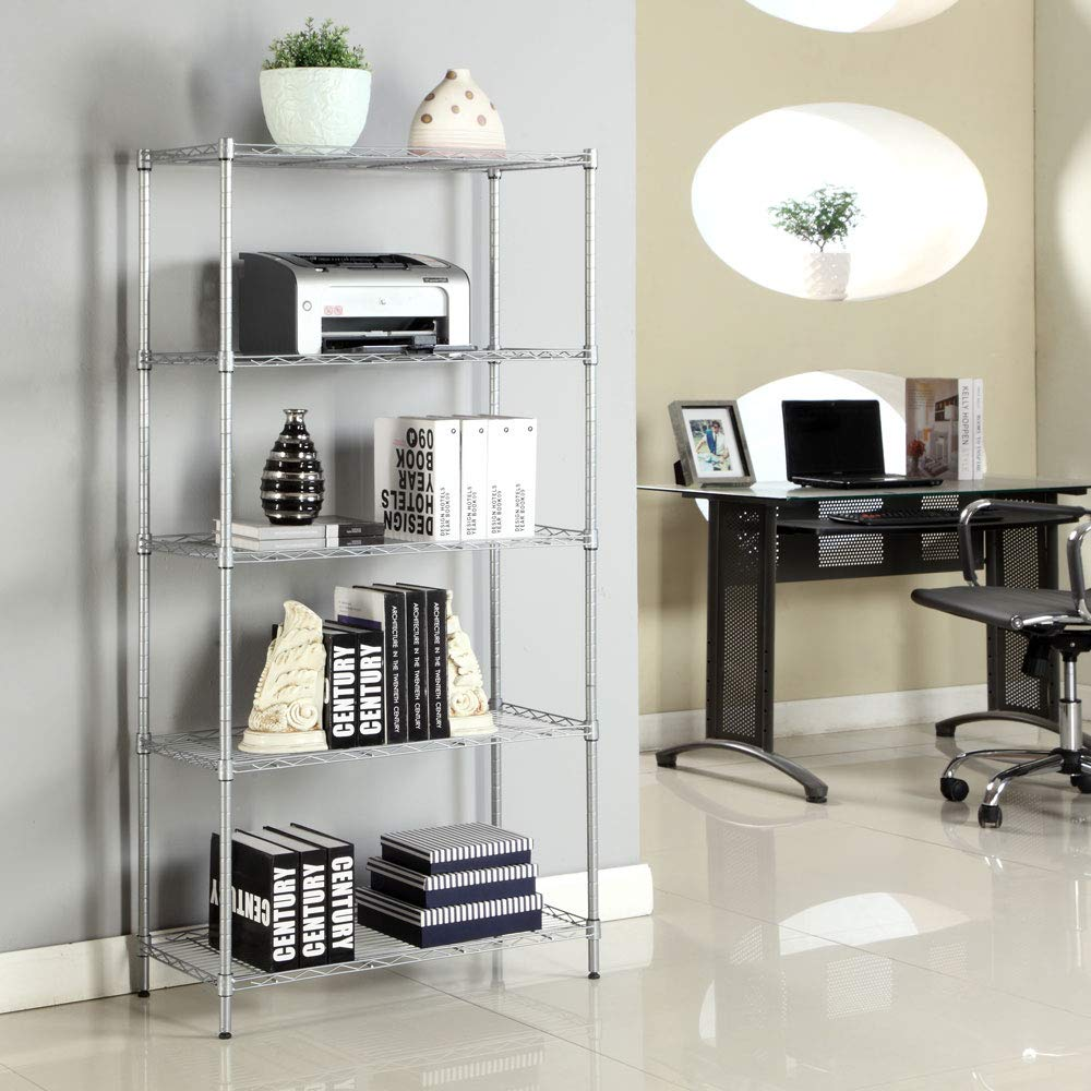 Tidyard Rectangle Carbon Steel Metal Assembly 5-Shelf Storage Rack Silver Gray