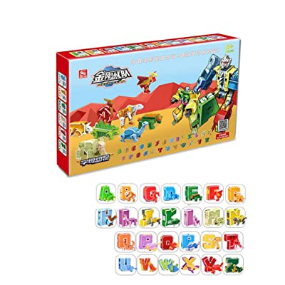 settlede English Alphabet Deformation Dinosaur Toy fit ABC Animal Dinosaur deforamtiao Transformation Robot Toys 8 Vairable Toys: Home & Kitchen