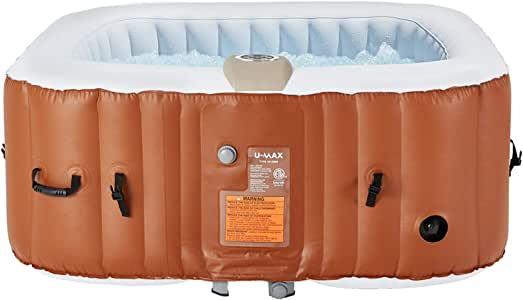 "U-MAX Inflatable Hot Tub, 4-6 Person Portable SPA Blow Up Hot Tub with Built in Heater and Bubble Function(Square, 73"" x 25.6"")"