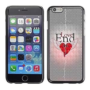 TECHCASE**Cubierta de la caja de protección la piel dura para el ** Apple iPhone 6 ** Love Heartbreak Quote Broken Heart Wings