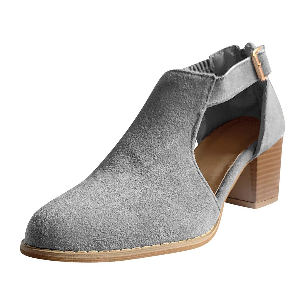 ZOMUSAR Women's Casual Short Buckle Ankle Strap Cutout High Heels Shoes Ankle Booties Gray by ZOMUSAR