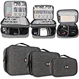(US) BUBM 3pcs Double Layer Electronic Organizer, Travel Gadgets Bag for Cables, External Flash Drive, Mouse, Memory Card, Power Bank and More, Compact and Multi-purpose, Denim Gray