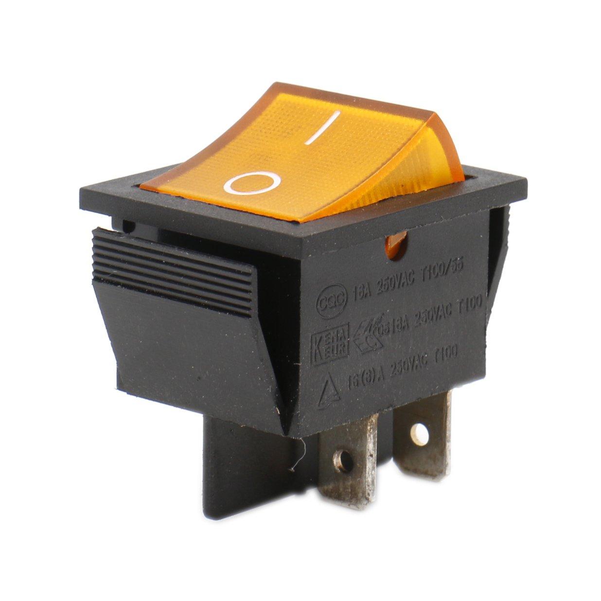 heschen Rocker Interruptor ON-OFF DPST 4/terminales amarillo luz 16/A 250/VAC 2/unidades