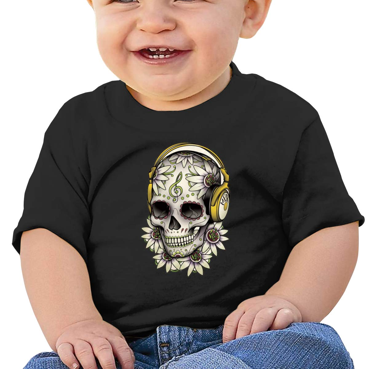 JVNSS Calavera-Tattoo-Skull-Day-of-The-Dead Baby T-Shirt Infant Boy Girl Cotton T Shirts Soft Tee Shirts for 6M-2T Baby