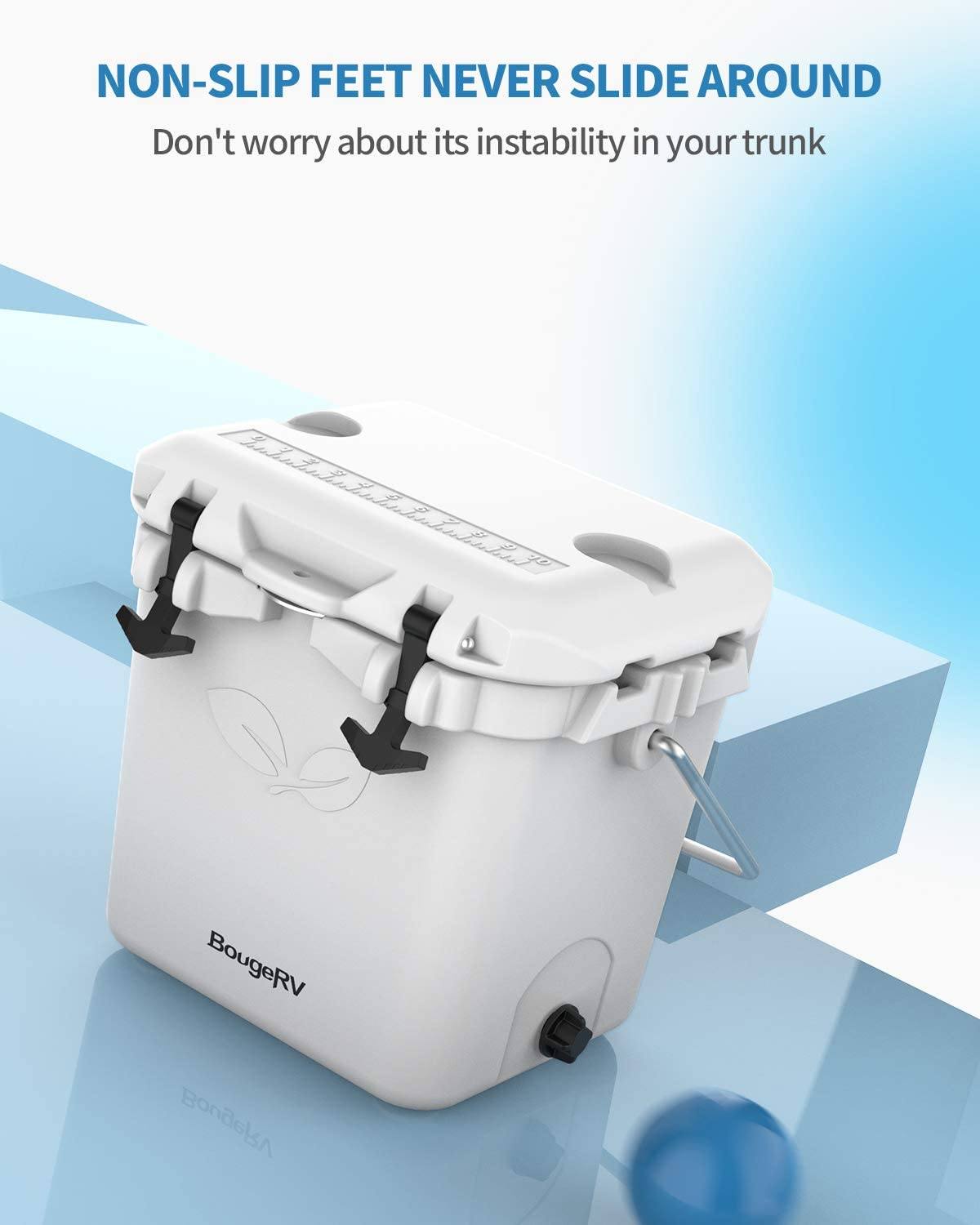 BougeRV 20 Quart Cooler 5 Days Ice Retention 30 Can Cooler Box with Bottle Opener Portable Insulated Leakproof Hard Shell Rotomolded Cooler for Camping Hiking Fishing White