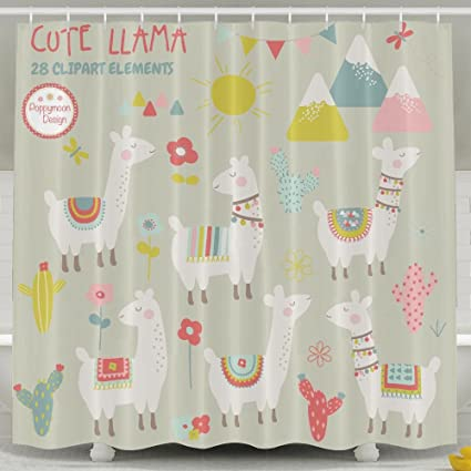 Amazon.com: Llama Bathroom Shower Curtain, Waterproof Bath ...