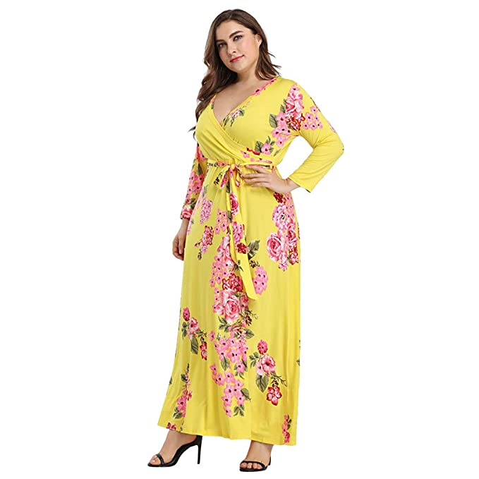 Amazon.com: ✓ Hypothesis_X ☎ Women Long Sleeve Maxi Dress Floral ...