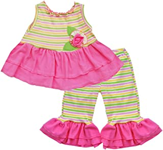 product image for Cheeky Banana Little Girls Lemonade Knit Top & Capris Pastel Stripes