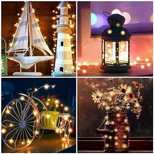 USB-Schnur-Lichter,RcStarry(TM) 4er stück 20M 200 LEDs Kupferdraht Lichterkette mit 8-Tasten Fernbedienung und Energie-Adapter, Innen- und Außendeko für Party, Weihnachten, Urlaub - Warmweiß Warmweiß-4er Stück