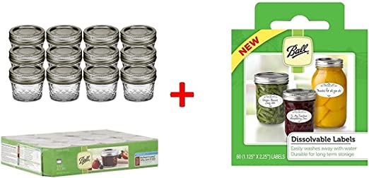 Ball 4-Ounce Quilted Crystal Jelly Jars with Lids and Bands Set of 12-3 Pack ...