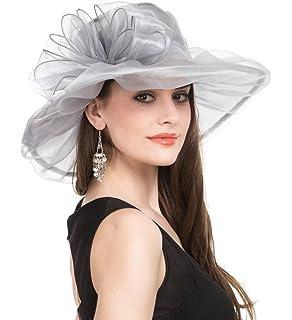 5aa693dc Lucky Leaf Women Kentucky Derby Church Cap Wide Brim Summer Sun Hat for  Party Wedding