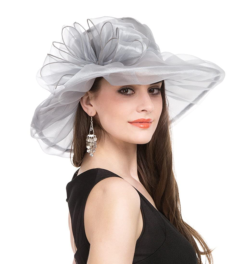 1grey Lucky Leaf Women Kentucky Derby Church Cap Wide Brim Summer Sun Hat for Party Wedding