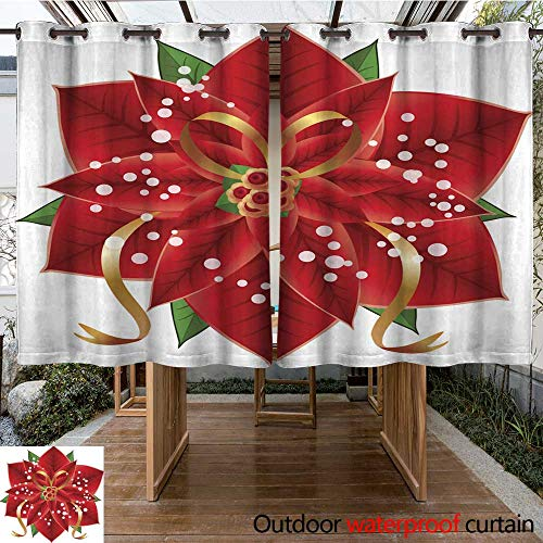 r Curtains for Patio Sheer Poinsettia Flower with Leaves and Ribbon W55 x L72 ()