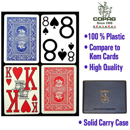 Copag 2 Deck Set Magnum 100% Plastic Playing Cards - Comes with Free Cut Card!