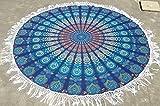 Mandala Tassle Fleco del redondo turquesa playa manta mantel Roundie alfombrilla para Yoga