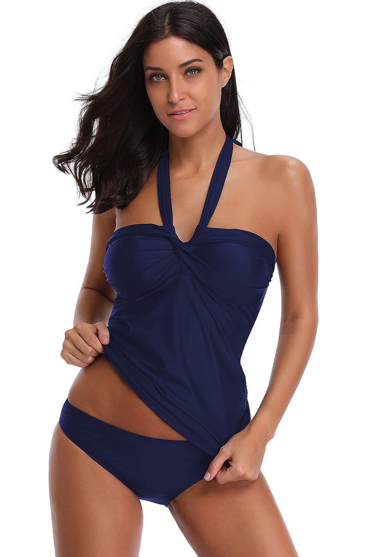 SherryDC Women's Twist Bandeau Halter Padded Tankini Top Swimwear Swimsuit 5F493