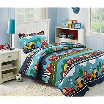 hnnsi 100 cotton 2pcs kids quilt bedspread set twin size for boys cute print