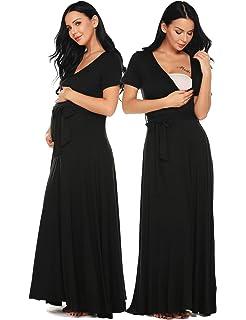 ab94b5e74cb61 Ekouaer Womens Maternity Maxi Dress Short Sleeve V Neck Nursing Nightgown  for Breastfeeding Sleepwear S-