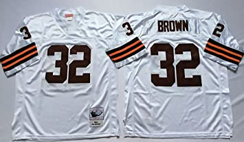 newest 3558b 0ff6e Men's Jim Brown #32 White Throwback Football Jersey XX-Large ...