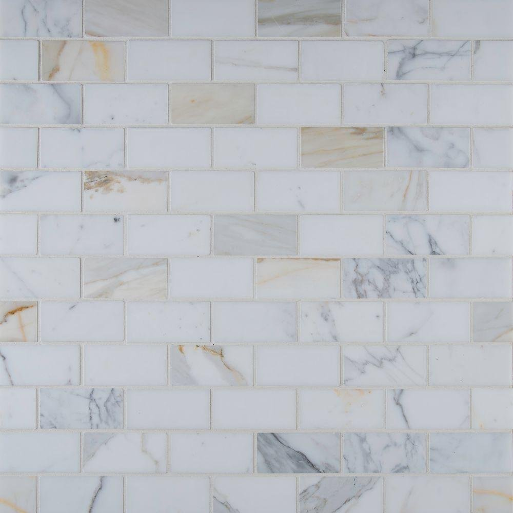 M S International Calacatta Gold 12 In. X 12 In. Polished Marble Mesh-Mounted Mosaic Tile, (10 sq. ft., 10 pieces per case)