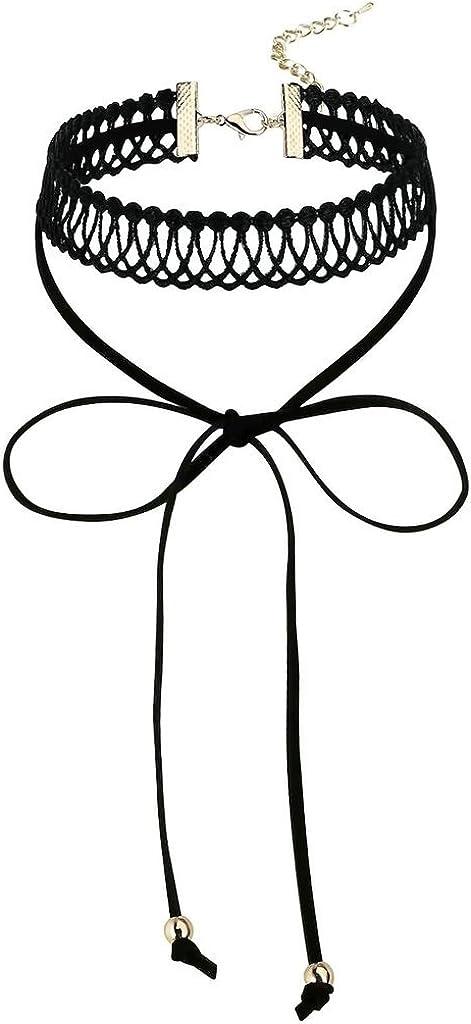 Beydodo Collar de Mujer Acero Inoxidable Choker Collares para Mujer Terciopelo Corbata de Lazo 2 Perlas Oro Negro 0.8x0.7x32.5CM