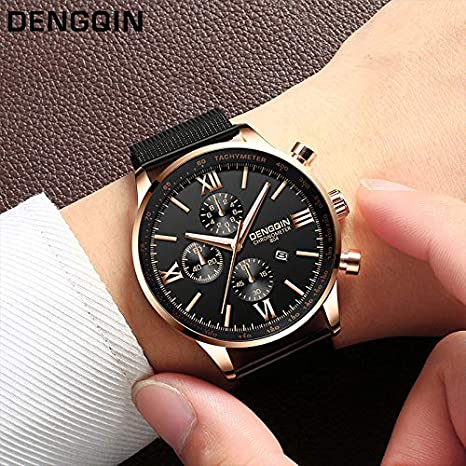 BBestseller Relojes Hombre Deportivos,Correa de Malla de Moda Reloj Relojes clásicos Inoxidable Impermeable Watch (Negro 3): Amazon.es: Relojes