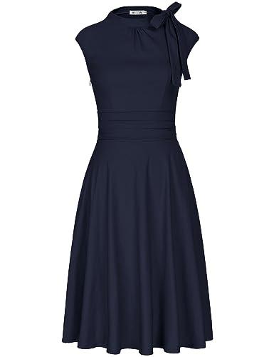 MUXXN Women's Cap Sleeve Ruched Waist Swing Rockabilly Dress