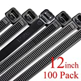zip ties 12 uv - Harileminy Cable Zip Ties Heavy Duty 100 Pieces 12 Inch Self-Locking Ultra Strong Plastic Wire Ties Tensile Strength Nylon Cable Tie Wraps Width in Black White UV Resistant