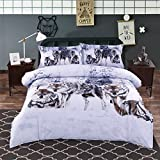 Alicemall Wolf Bedding 3D Snow Wolf in the Woods Print 100% Cotton 4 Piece Duvet Cover Sets, Wolf Print Bedroom Sheets Set, King Size (King)