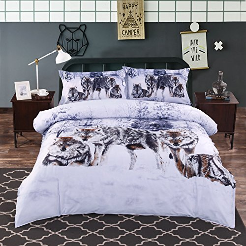 Alicemall 4 Piece Wolf 3D Bedding Set Twin Snow Wolf in the Woods Print 3D Animal Bedding Sets 100% Cotton Duvet Cover Sets, Twin/XL Twin /Full/Queen, No Comforter (Twin-10921292)
