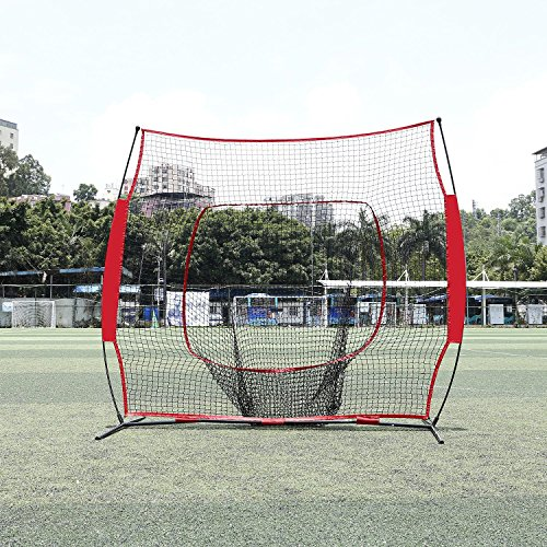 Super Deal 7'×7' Portable Baseball Softball Net w/Carrying Bag, Metal Bow Frame& Rubber Feet, for Training Hitting Batting Catching Practice by Super Dea (Image #3)