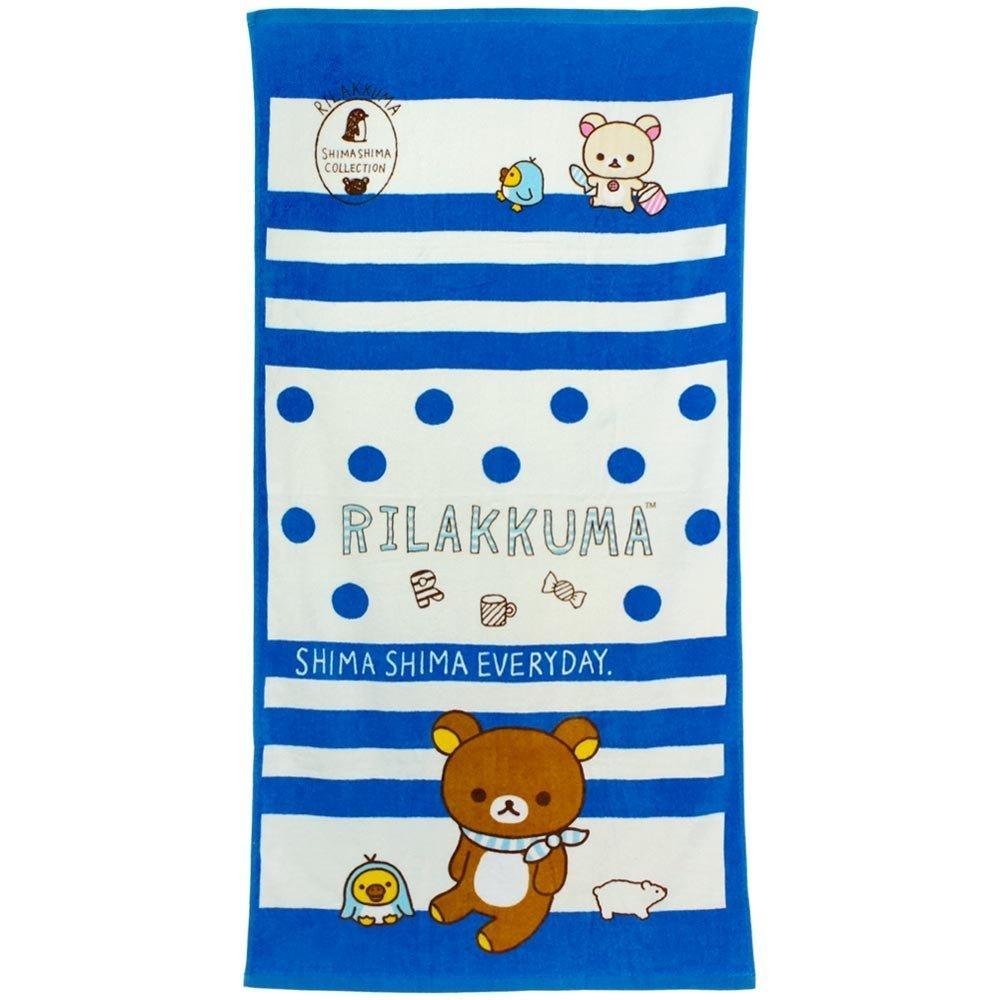 Marushin San-x Rilakkuma Jumbo Beach Towel ''Stripes Everyday'' Size 70cm x 140cm by Marushin