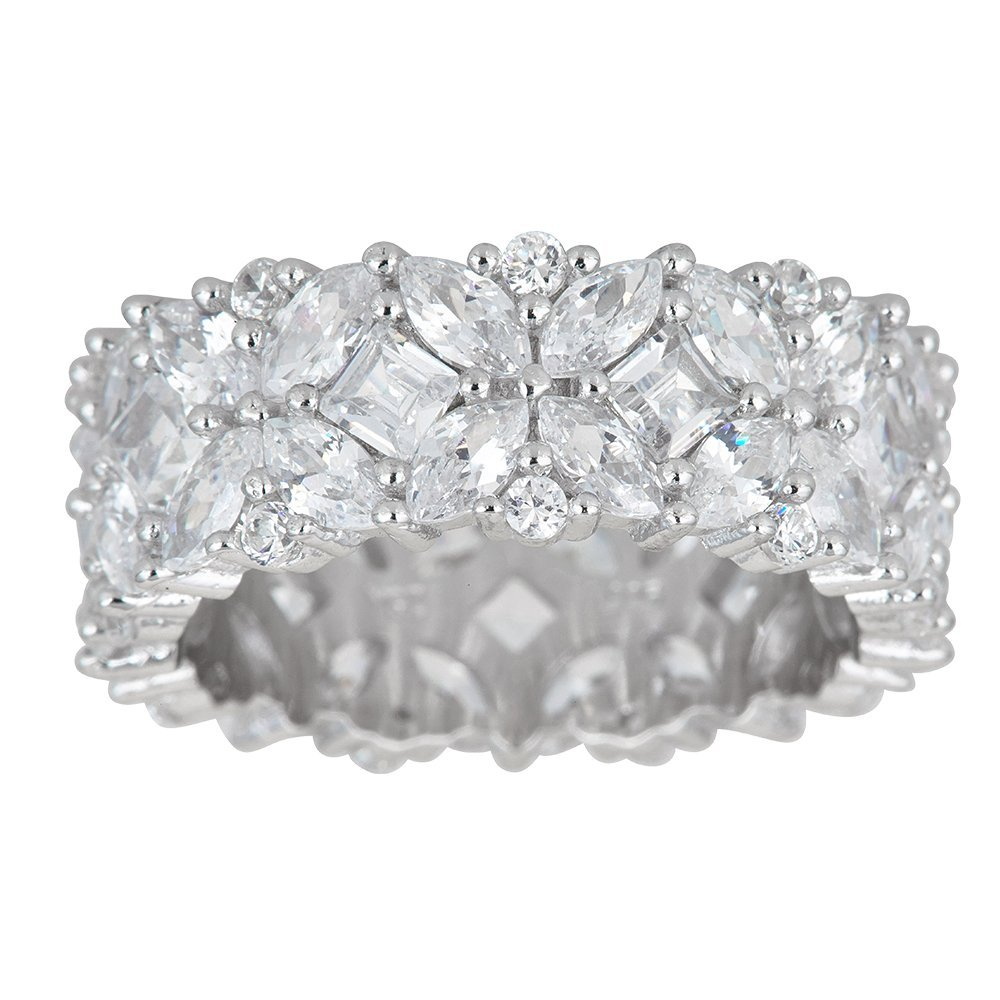 Sterling Silver Cubic Zirconia Multi Stone Eternity Band Ring