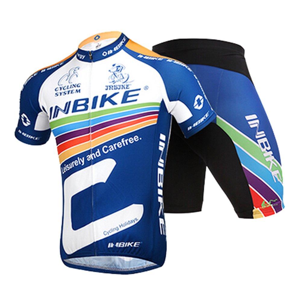 INBIKEメンズandレディース夏通気性Cycling Jersey and 3dシリコンパッド入りショーツOutfit B01D0Z86MA (US)XL-(CN)XXXL|ネイビー ネイビー (US)XL-(CN)XXXL