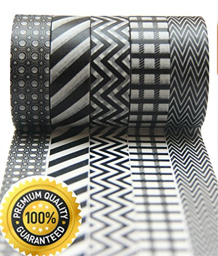 Washi Tape by L'artisant - Premium Quality Set of 5 Black and White Rolls. Dark Knight (Cheap Settee For Sale)