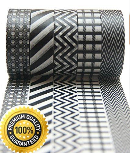 Washi Tape by L'artisant - Premium Quality Set of 5 Black and White Rolls. Dark Knight