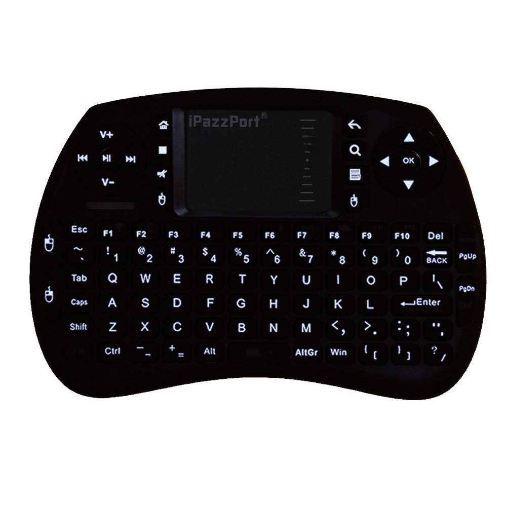 iPazzPort Backlit Keyboard and Bluetooth Mini Wireless Keyboard with Touchpad for Raspberry Pi and Android Smart Tv and PC KP-810-21SBL by iPazzPort