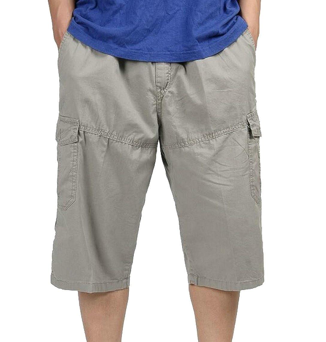 8d66d775f0 Oberora-Men Casual Mid Waist Multi Pockets Plus Size Cargo Shorts Pants
