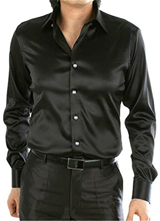 74cb2bf2aecb30 Men's Button Down Silk Like Satin Luxury Solid Color Dance Prom Party Long  Sleeve Dress Shirts